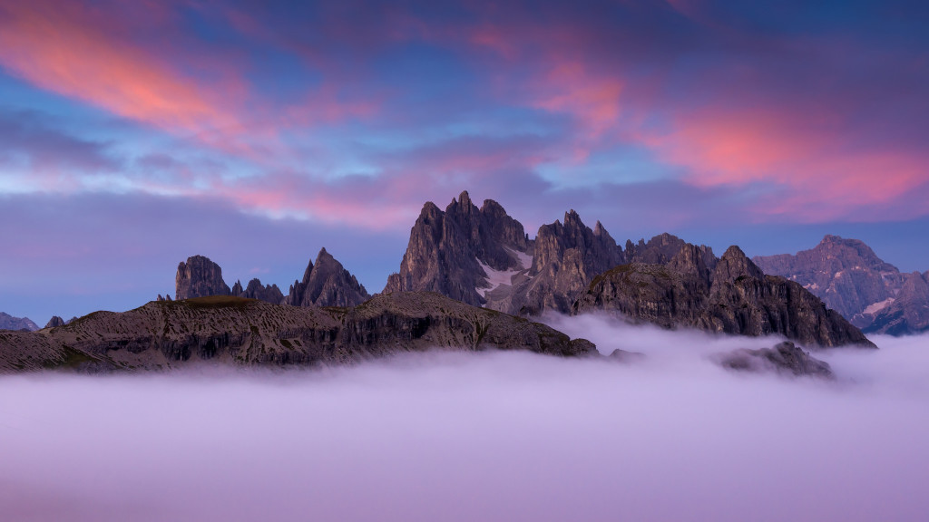 Italy, Dolomites - wonderful scenery, above the clouds